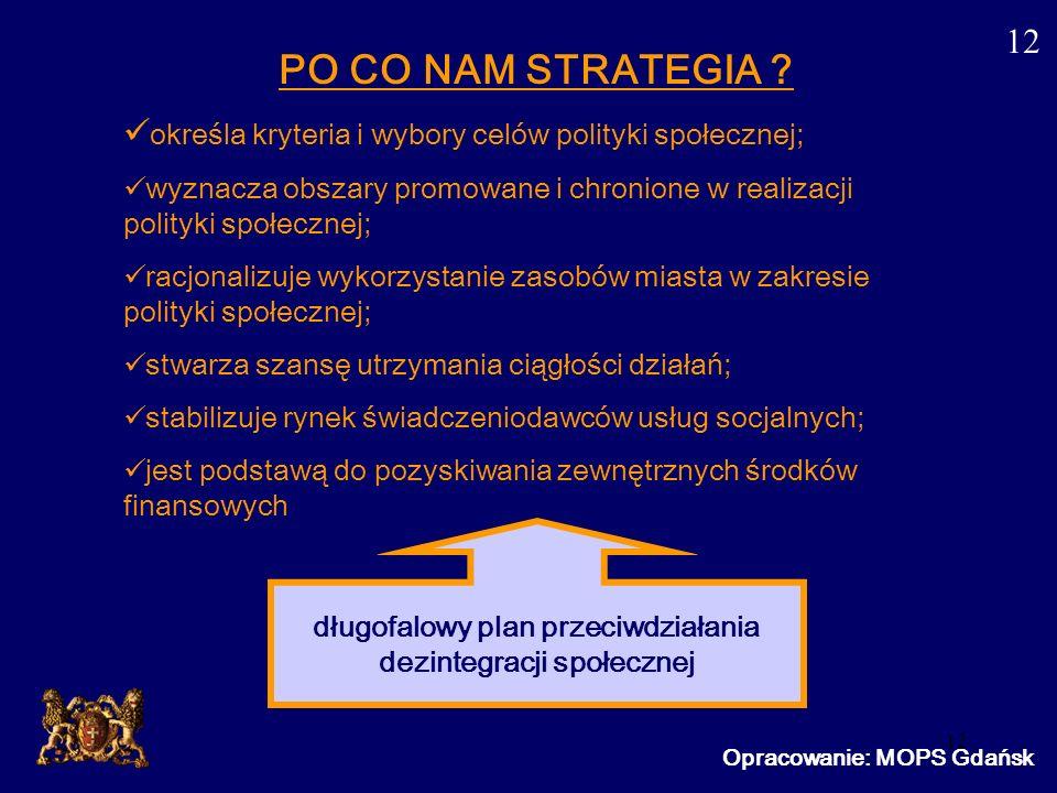 12 Opracowanie: MOPS Gdańsk PO CO NAM STRATEGIA ? określa kryteria i wybory celów polityki społecznej; wyznacza obszary promowane i chronione w realiz