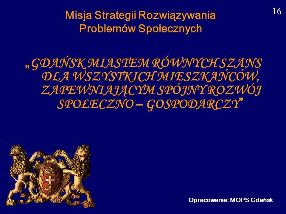 16 Misja Strategii Rozwiązywania Problemów Społecznych GDAŃSK MIASTEM RÓWNYCH SZANS DLA WSZYSTKICH MIESZKAŃCÓW, ZAPEWNIAJĄCYM SPÓJNY ROZWÓJ SPOŁECZNO