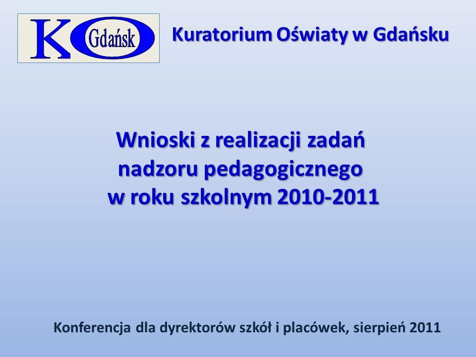 Wnioski z realizacji zadań nadzoru pedagogicznego w roku szkolnym 2010-2011 w roku szkolnym 2010-2011 Konferencja dla dyrektorów szkół i placówek, sie