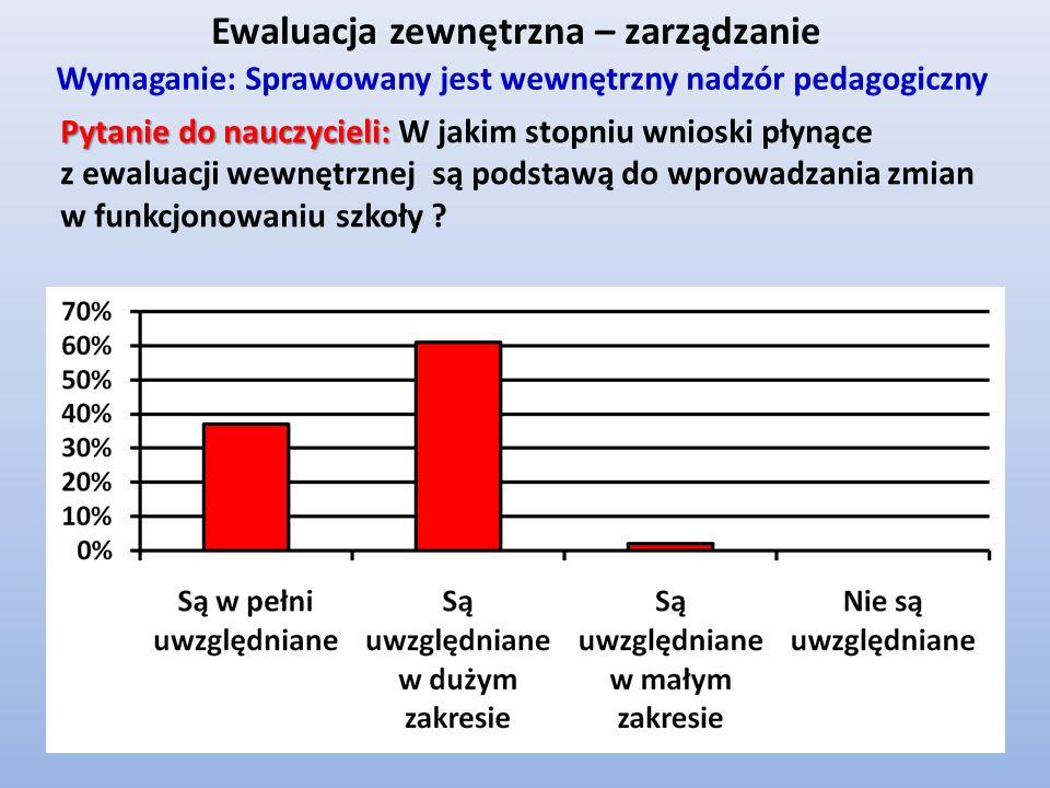 Ewaluacja zewnętrzna – zarządzanie Wymaganie: Sprawowany jest wewnętrzny nadzór pedagogiczny Pytanie do nauczycieli: Pytanie do nauczycieli: W jakim s