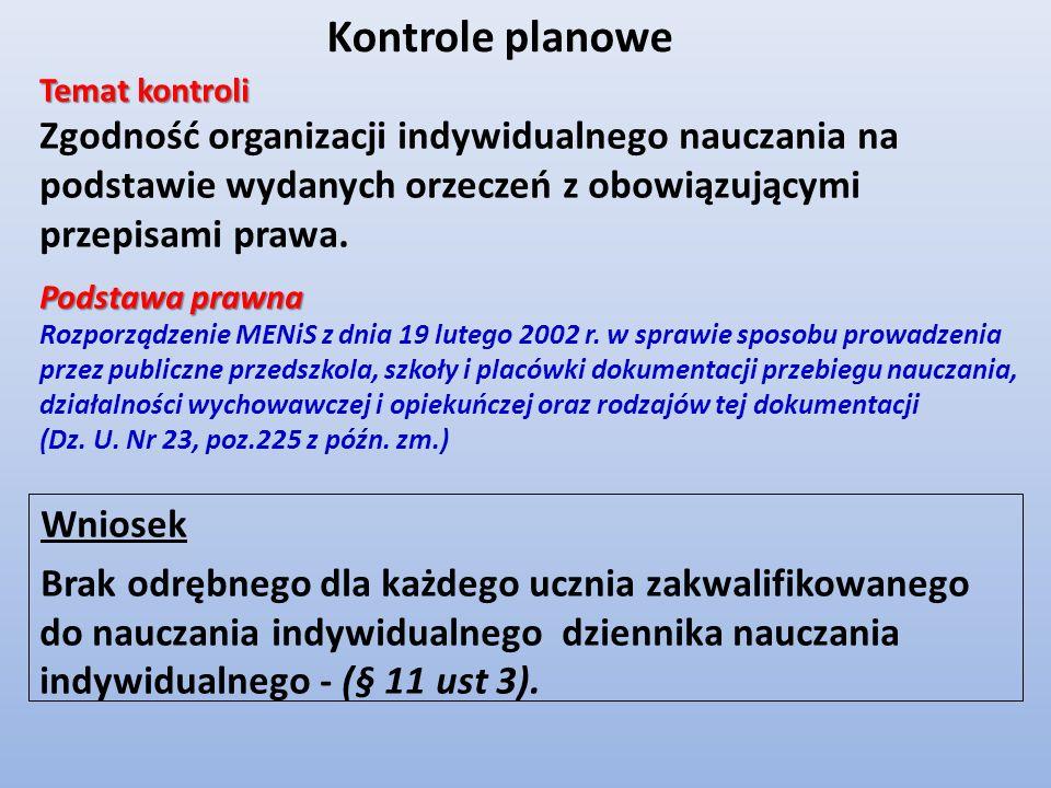 Wniosek Brak odrębnego dla każdego ucznia zakwalifikowanego do nauczania indywidualnego dziennika nauczania indywidualnego - (§ 11 ust 3). Kontrole pl