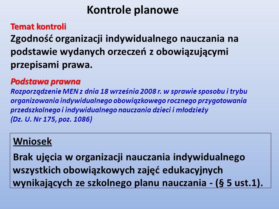 Wniosek Brak ujęcia w organizacji nauczania indywidualnego wszystkich obowiązkowych zajęć edukacyjnych wynikających ze szkolnego planu nauczania - (§
