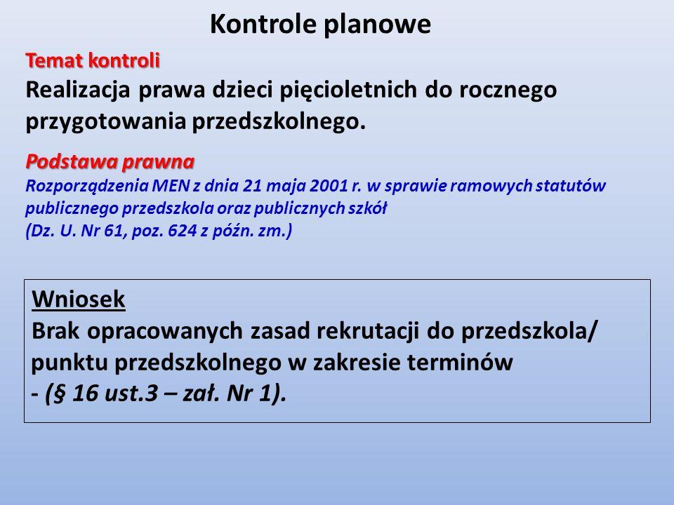 Wniosek Brak opracowanych zasad rekrutacji do przedszkola/ punktu przedszkolnego w zakresie terminów - (§ 16 ust.3 – zał. Nr 1). Kontrole planowe Tema