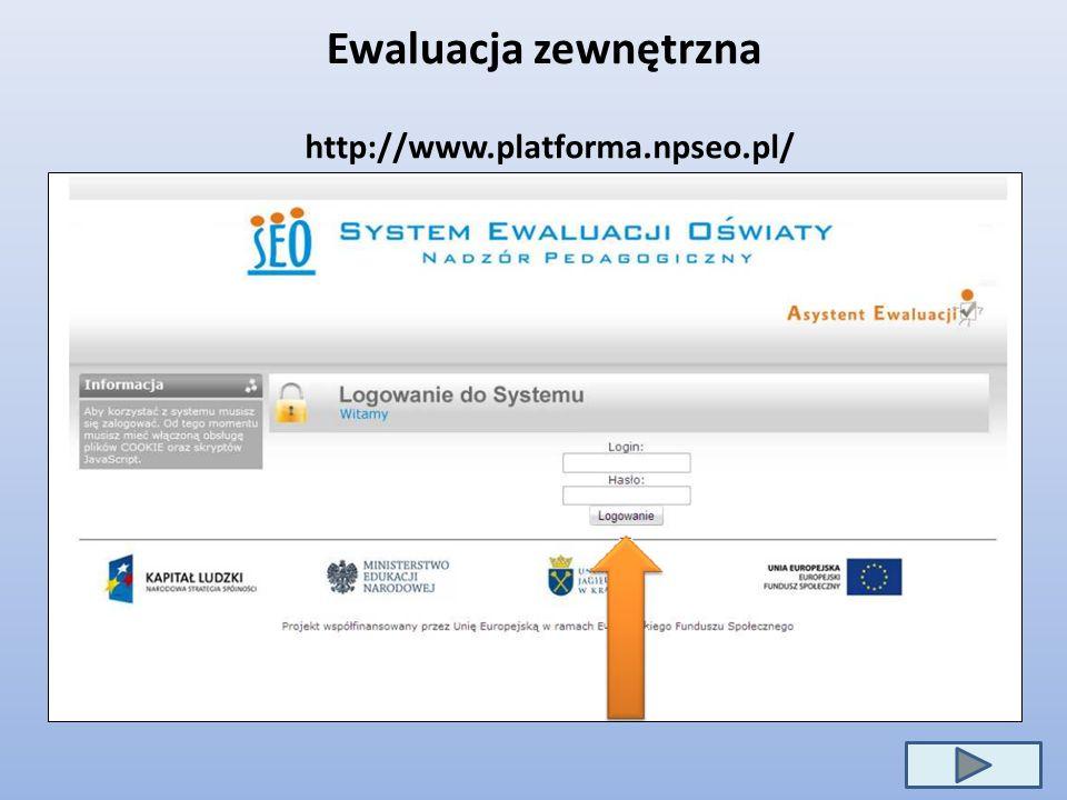 Ewaluacja zewnętrzna http://www.platforma.npseo.pl/