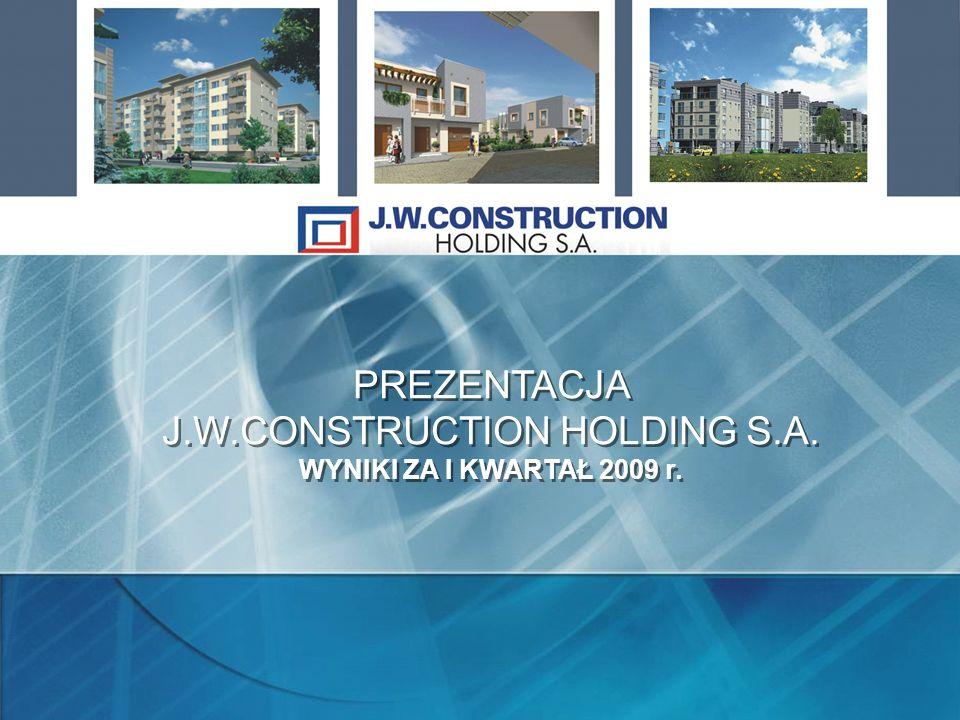PREZENTACJA J.W.CONSTRUCTION HOLDING S.A. WYNIKI ZA I KWARTAŁ 2009 r.