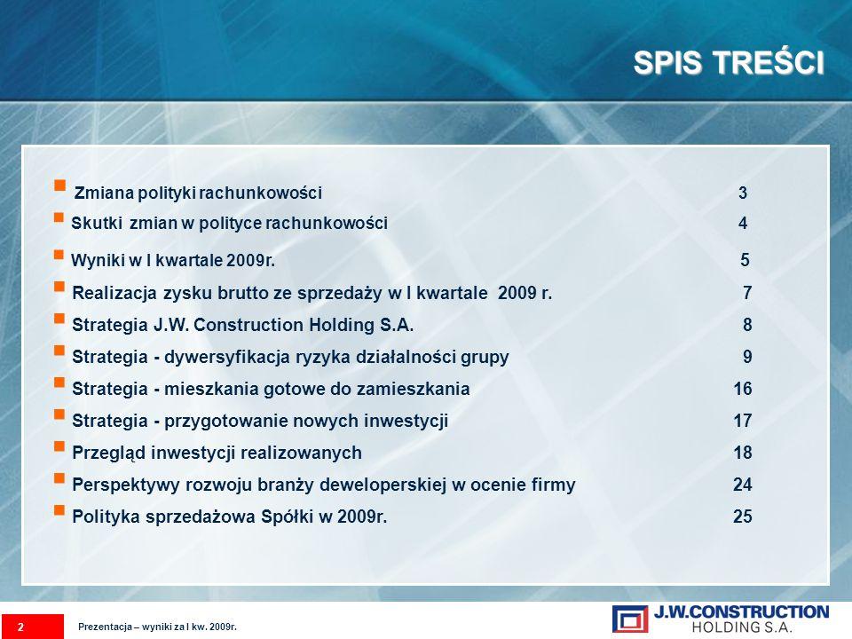SPIS TREŚCI 2 Zmiana polityki rachunkowości 3 Skutki zmian w polityce rachunkowości 4 Wyniki w I kwartale 2009r.
