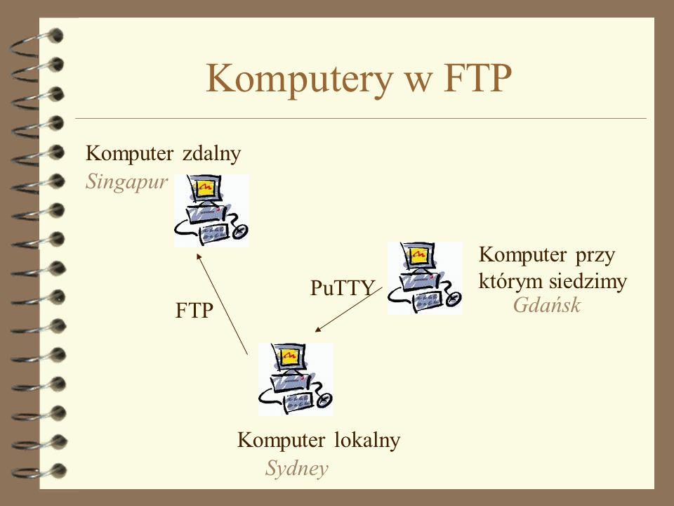 FTP 4 File Transfer Protocol - służy do przesyłania plików 4 Zawsze pracuje się na dwóch komputerach: –serwerze (komputerze zdalnym) i –kliencie (komp