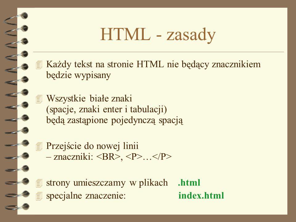 Struktura dokumentu tytuł strony Zawartość strony