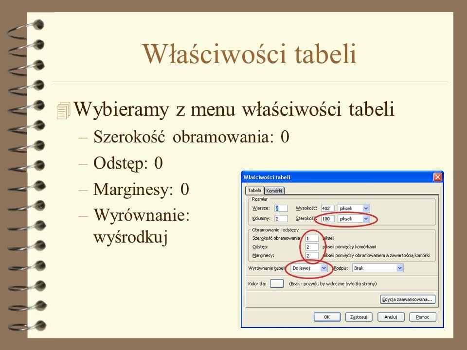 Dostosowujemy wielkości komórek 4 Można wykorzystać ikonki na listwach (patrz rys) 4 Rozmiary wymuszają też rysunki umieszczone jako IMG