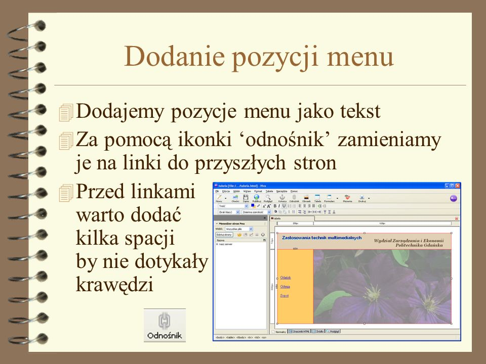 Dodanie koloru menu 4 Klikamy na komórce prawym przyciskiem myszki 4 Wybieramy kolor tła komórki 4 Wybieramy kolor