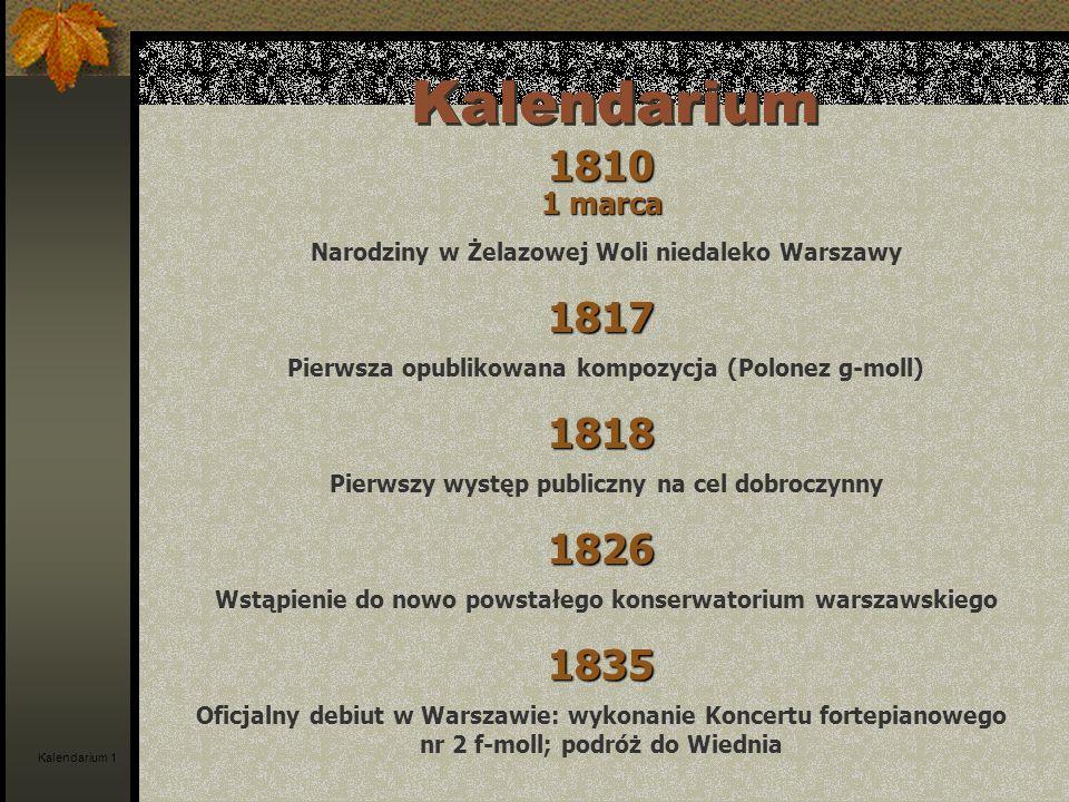 Kalendarium 1810 Narodziny w Żelazowej Woli niedaleko Warszawy 1817 Pierwsza opublikowana kompozycja (Polonez g-moll) 1818 Pierwszy występ publiczny n