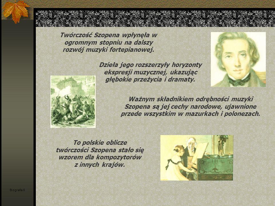 Twórczość Szopena wpłynęła w ogromnym stopniu na dalszy rozwój muzyki fortepianowej. Dzieła jego rozszerzyły horyzonty ekspresji muzycznej, ukazując g