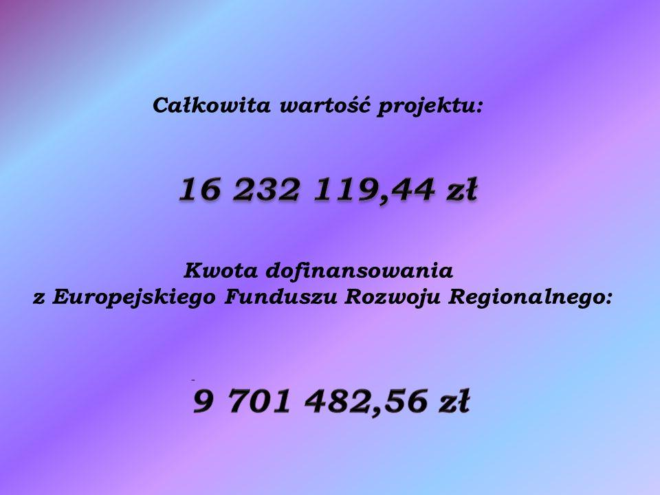 Całkowita wartość projektu: Kwota dofinansowania z Europejskiego Funduszu Rozwoju Regionalnego: