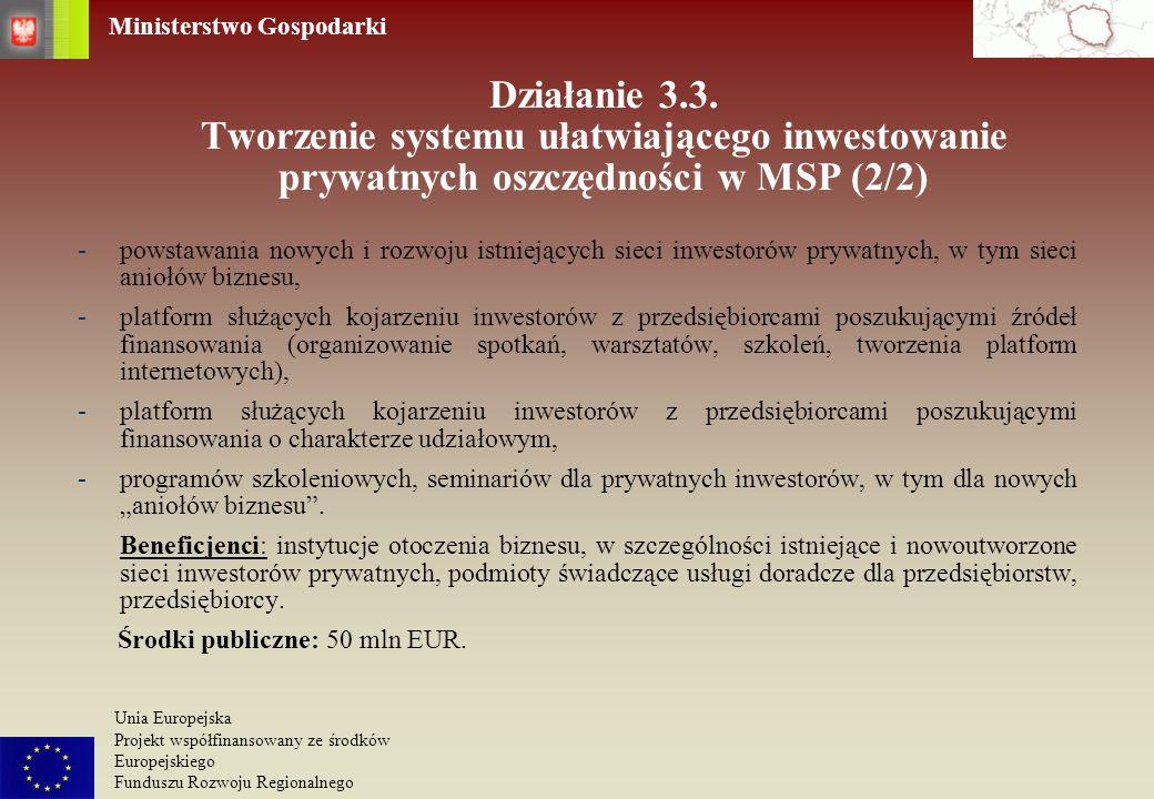 Ministerstwo Gospodarki Unia Europejska Projekt współfinansowany ze środków Europejskiego Funduszu Rozwoju Regionalnego Działanie 3.3. Tworzenie syste