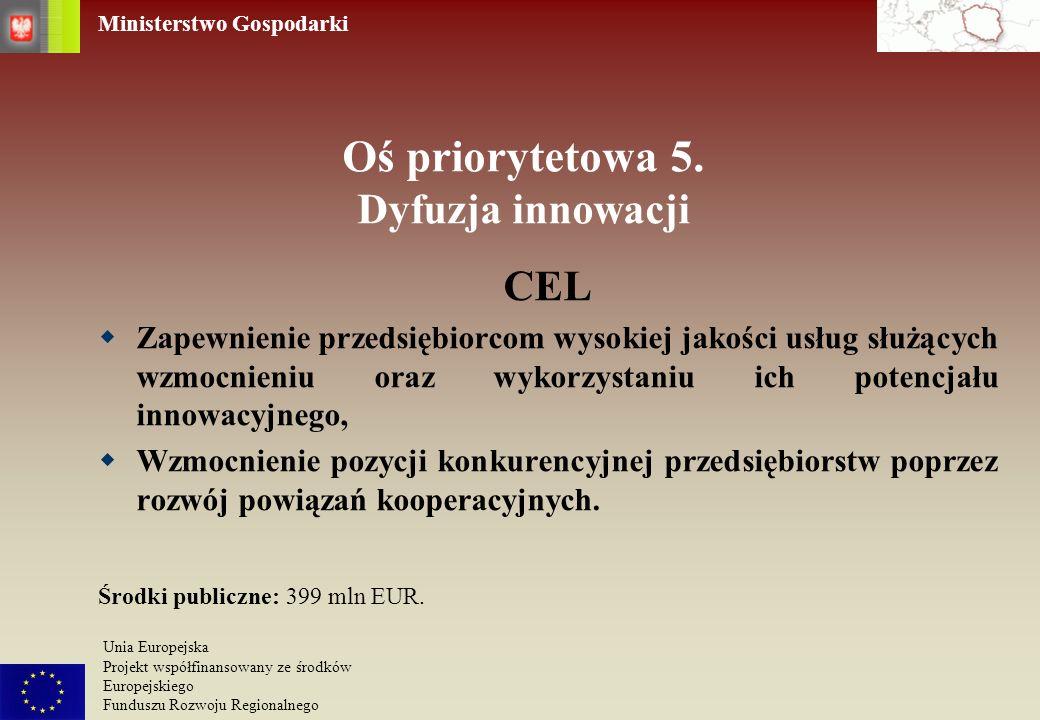 Ministerstwo Gospodarki Unia Europejska Projekt współfinansowany ze środków Europejskiego Funduszu Rozwoju Regionalnego Oś priorytetowa 5. Dyfuzja inn