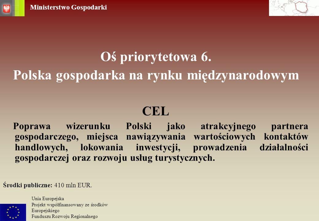 Ministerstwo Gospodarki Unia Europejska Projekt współfinansowany ze środków Europejskiego Funduszu Rozwoju Regionalnego Oś priorytetowa 6. Polska gosp