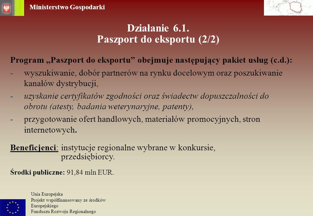 Ministerstwo Gospodarki Unia Europejska Projekt współfinansowany ze środków Europejskiego Funduszu Rozwoju Regionalnego Działanie 6.1. Paszport do eks