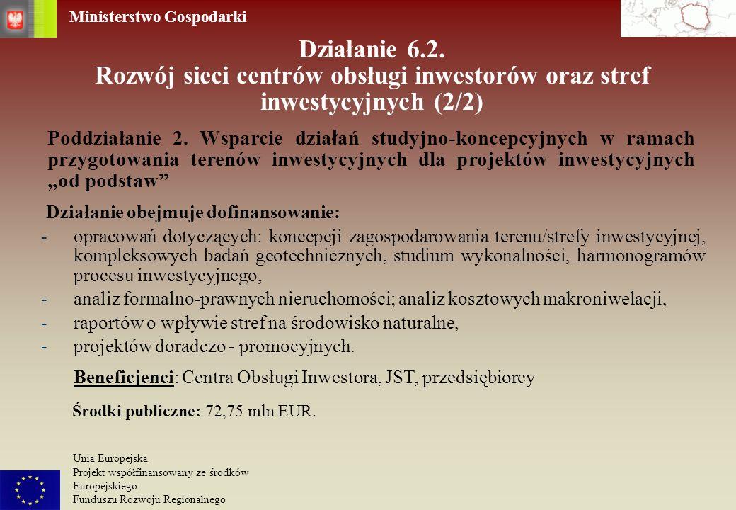 Ministerstwo Gospodarki Unia Europejska Projekt współfinansowany ze środków Europejskiego Funduszu Rozwoju Regionalnego Działanie 6.2. Rozwój sieci ce