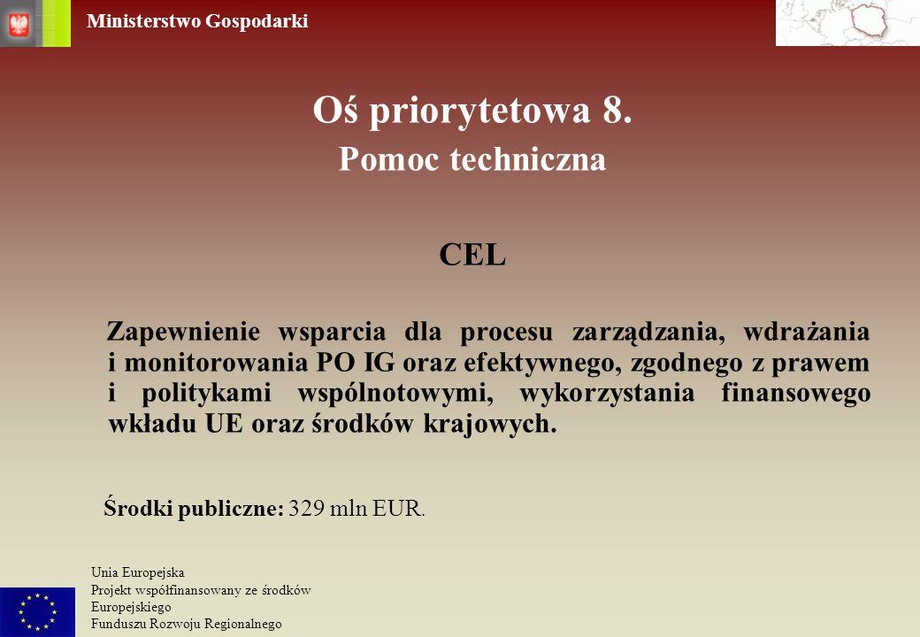 Ministerstwo Gospodarki Unia Europejska Projekt współfinansowany ze środków Europejskiego Funduszu Rozwoju Regionalnego Oś priorytetowa 8. Pomoc techn