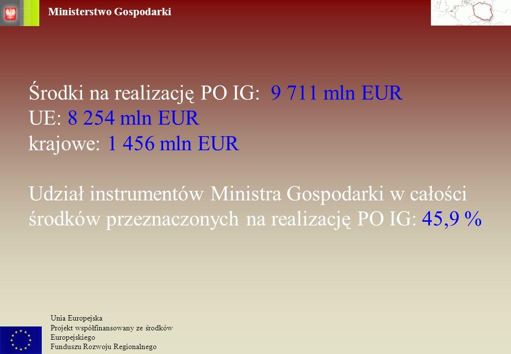 Ministerstwo Gospodarki Unia Europejska Projekt współfinansowany ze środków Europejskiego Funduszu Rozwoju Regionalnego Środki na realizację PO IG: 9
