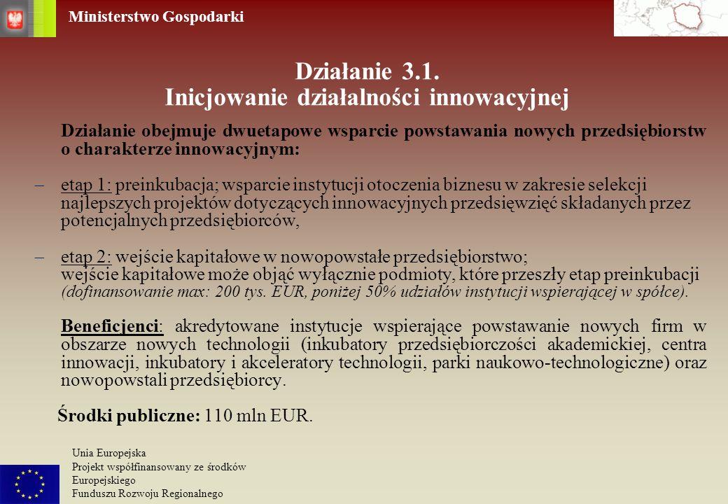 Ministerstwo Gospodarki Unia Europejska Projekt współfinansowany ze środków Europejskiego Funduszu Rozwoju Regionalnego Instytucje Otoczenia Biznesu Promocja gospodarcza Polski i wspieranie wymiany handlowej 4,2 % Wspieranie działalności innowacyjnej 4,1 % Szacunkowy podział (%) alokacji na działania Ministra Gospodarki w ramach Programu Operacyjnego INNOWACYJNA GOSPODARKA