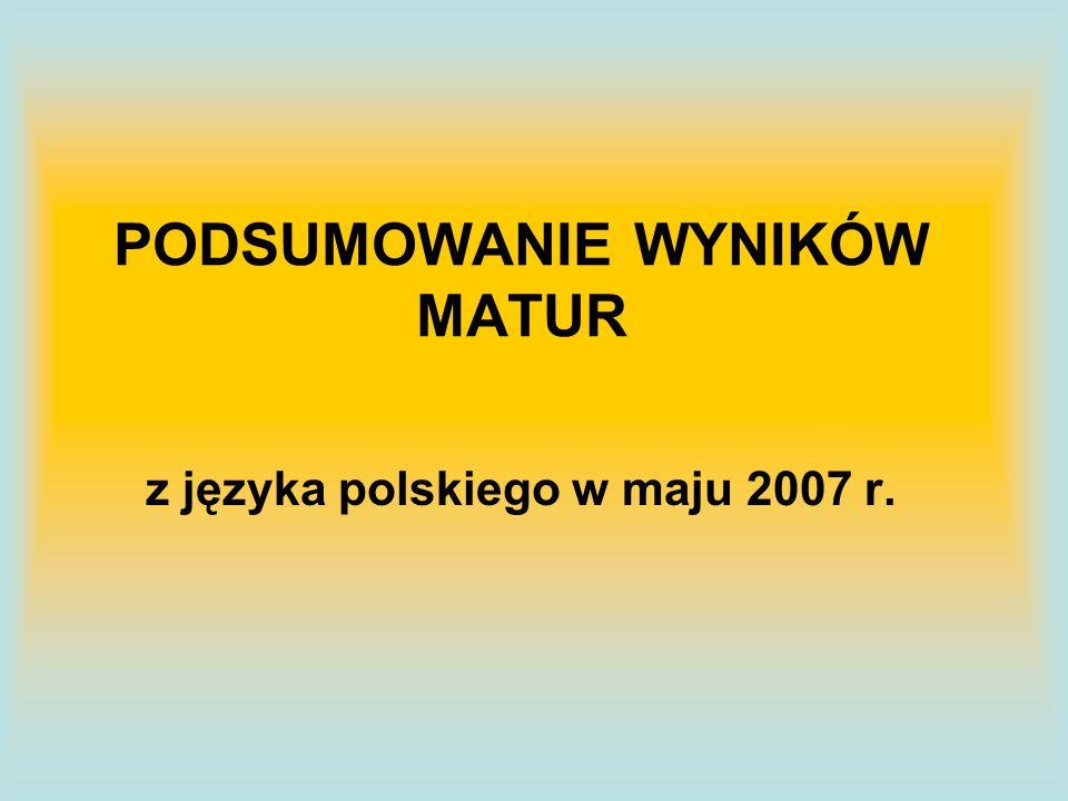 PODSUMOWANIE WYNIKÓW MATUR z języka polskiego w maju 2007 r.