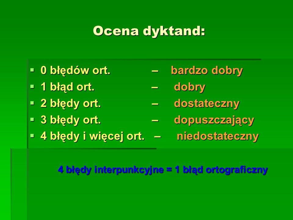Ocena dyktand: 0 błędów ort. – bardzo dobry 0 błędów ort. – bardzo dobry 1 błąd ort. – dobry 1 błąd ort. – dobry 2 błędy ort. – dostateczny 2 błędy or