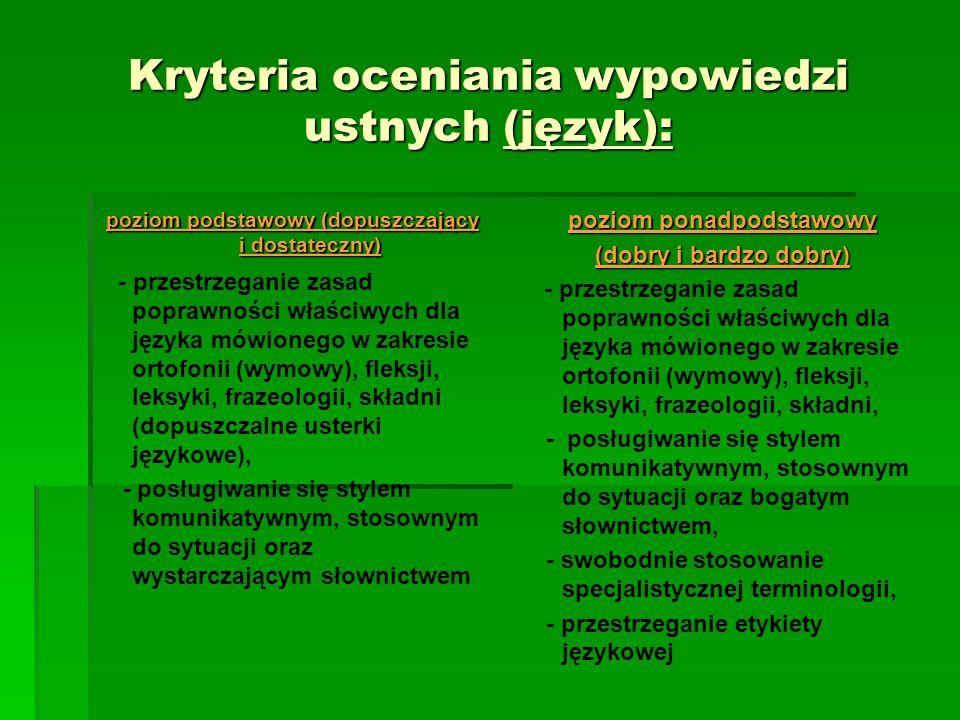 Kryteria oceniania wypowiedzi ustnych (język): poziom podstawowy (dopuszczający i dostateczny) - przestrzeganie zasad poprawności właściwych dla język