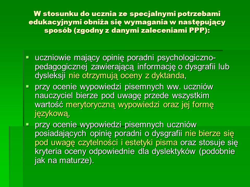 Wymagania edukacyjne poziom podstawowy (dopuszczający i dostateczny) wyjaśnić zjawisko stylizacji językowej na wybranych przykładach i rozpoznać jej odmiany (zwłaszcza archaizację i dialektyzację), wyjaśnić zjawisko stylizacji językowej na wybranych przykładach i rozpoznać jej odmiany (zwłaszcza archaizację i dialektyzację), wyjaśnić pojęcie błędu językowego, wyjaśnić pojęcie błędu językowego, rozpoznać błędy językowe i stylistyczne oraz dokonać korekty, rozpoznać błędy językowe i stylistyczne oraz dokonać korekty, sprawnie posługiwać się polszczyzną w odmianie pisanej, układać konspekty i plany prac, sprawnie posługiwać się polszczyzną w odmianie pisanej, układać konspekty i plany prac, poziom ponadpodstawowy (dobry i bardzo dobry) posługiwać się różnymi odmianami polszczyzny w zależności od sytuacji komunikacyjnej, posługiwać się różnymi odmianami polszczyzny w zależności od sytuacji komunikacyjnej, wskazać cechy słownikowe, składniowe, fonetyczne danej stylizacji, wskazać cechy słownikowe, składniowe, fonetyczne danej stylizacji, klasyfikować błędy językowe, klasyfikować błędy językowe, komponować dłuższe, spójne wypowiedzi, nadawać tytuły i śródtytuły, komponować dłuższe, spójne wypowiedzi, nadawać tytuły i śródtytuły, zredagować wypowiedź pisemną; artykuł, recenzję, zredagować wypowiedź pisemną; artykuł, recenzję, prowadzić dyskusję, uczestniczyć w polemice, prowadzić dyskusję, uczestniczyć w polemice,