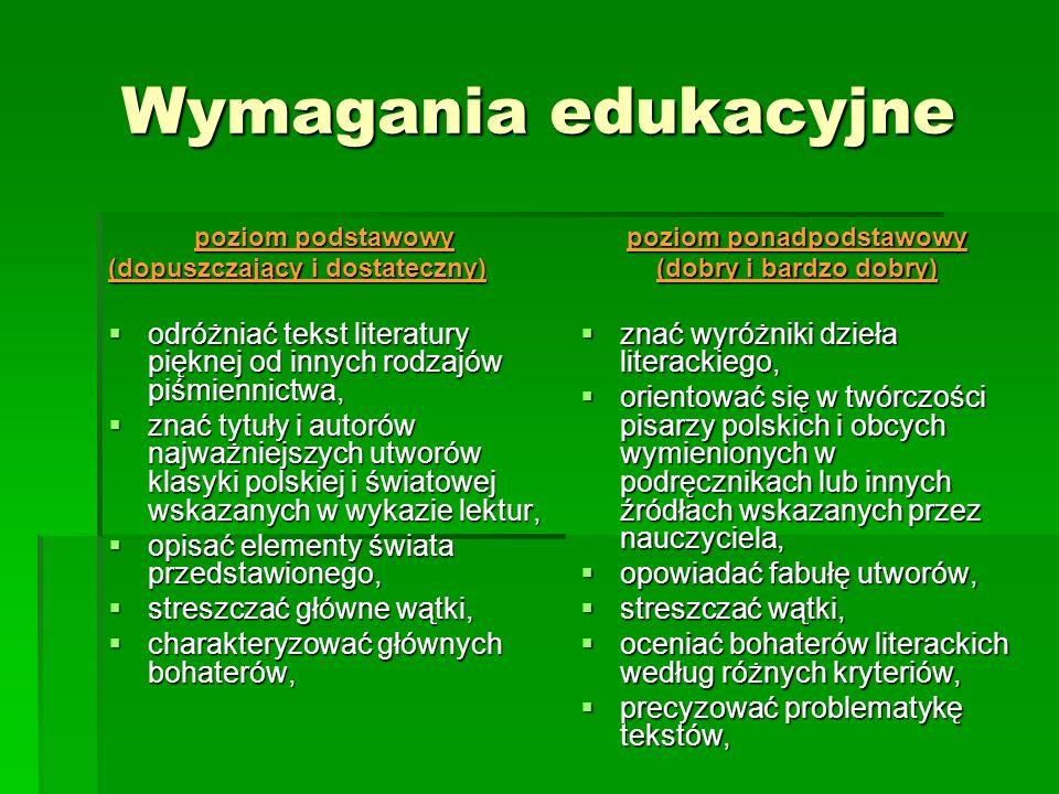 Wymagania edukacyjne poziom podstawowy (dopuszczający i dostateczny) odróżniać tekst literatury pięknej od innych rodzajów piśmiennictwa, odróżniać te