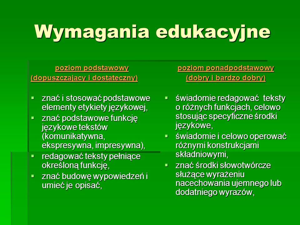Wymagania edukacyjne poziom podstawowy (dopuszczający i dostateczny) znać i stosować podstawowe elementy etykiety językowej, znać i stosować podstawow