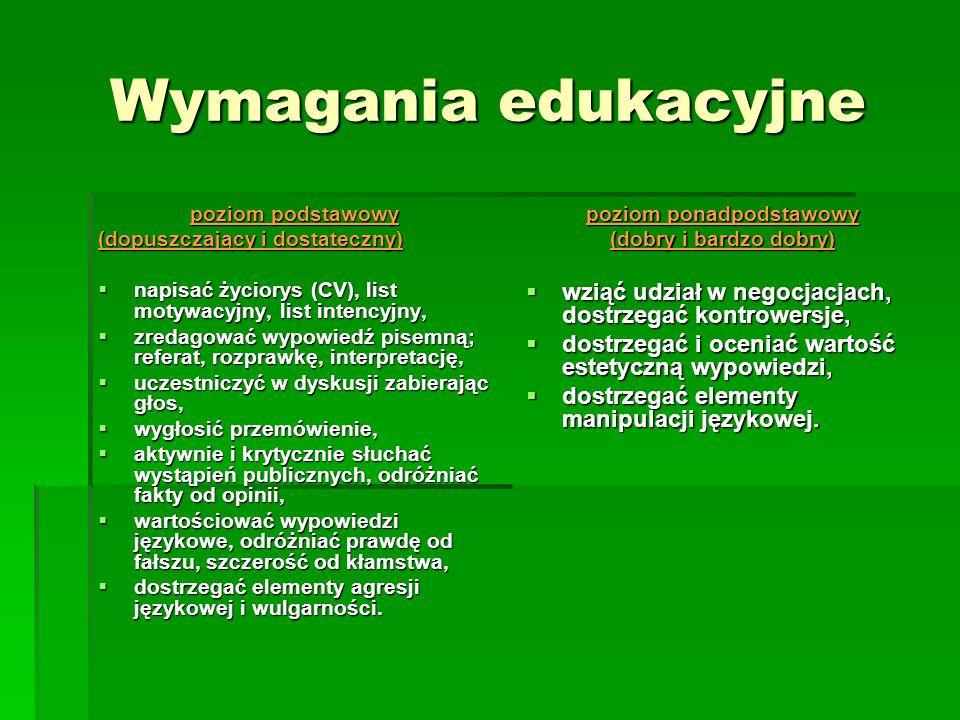 Wymagania edukacyjne poziom podstawowy (dopuszczający i dostateczny) napisać życiorys (CV), list motywacyjny, list intencyjny, napisać życiorys (CV),