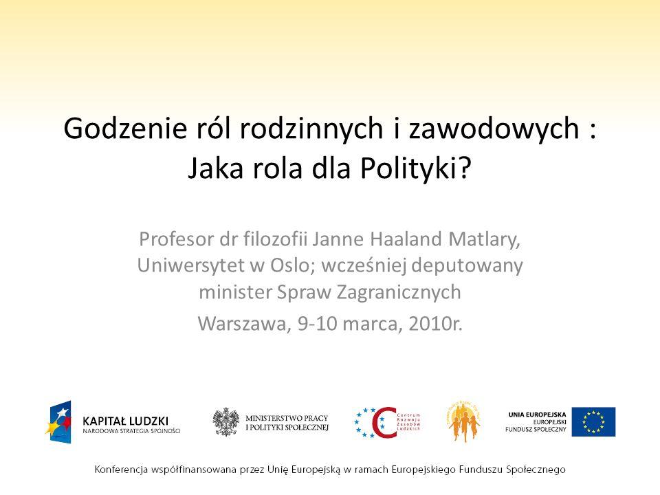 Godzenie ról rodzinnych i zawodowych : Jaka rola dla Polityki? Profesor dr filozofii Janne Haaland Matlary, Uniwersytet w Oslo; wcześniej deputowany m