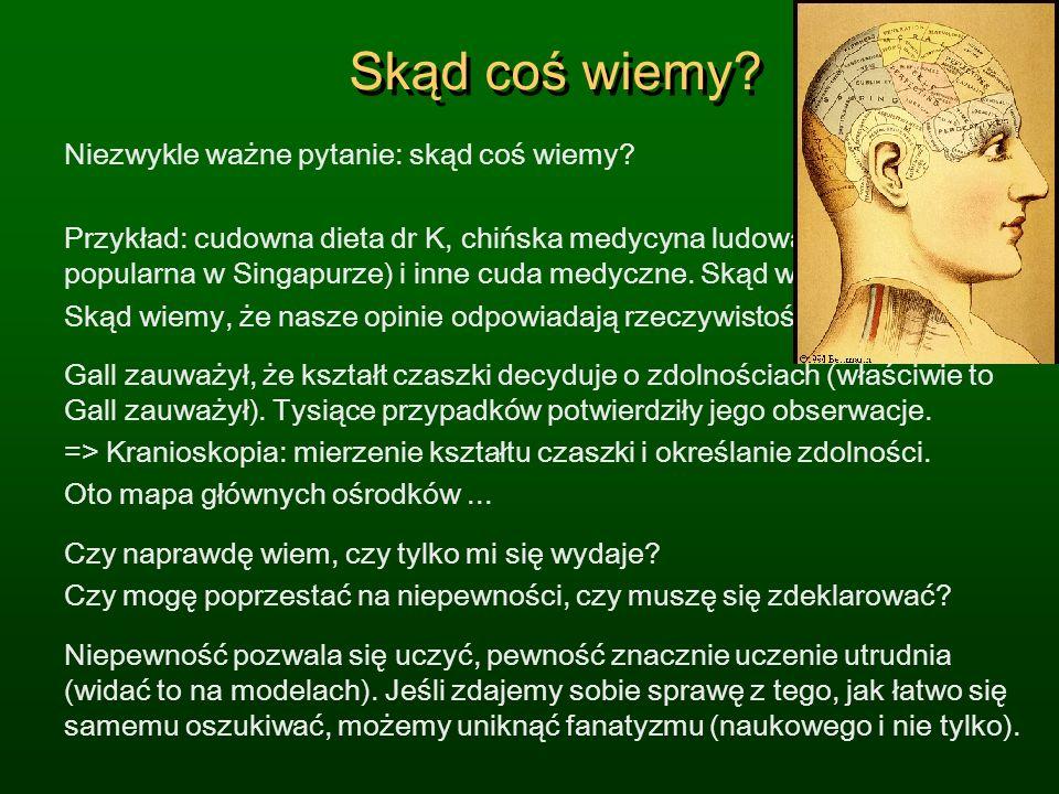 Skąd coś wiemy? Niezwykle ważne pytanie: skąd coś wiemy? Przykład: cudowna dieta dr K, chińska medycyna ludowa (bardzo popularna w Singapurze) i inne
