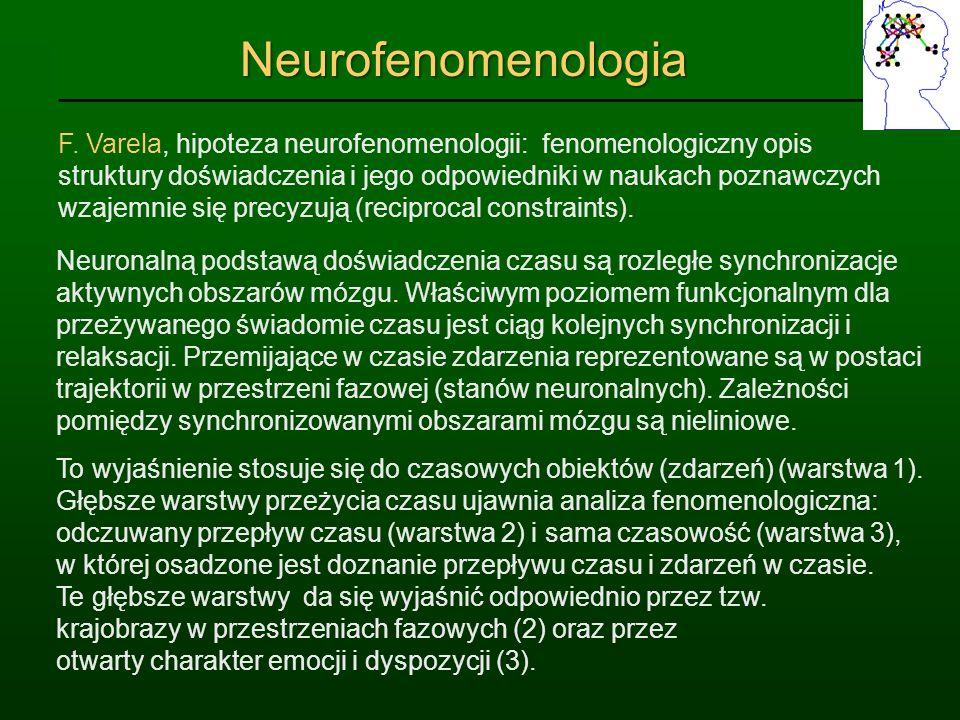 NeurofenomenologiaNeurofenomenologia F. Varela, hipoteza neurofenomenologii: fenomenologiczny opis struktury doświadczenia i jego odpowiedniki w nauka