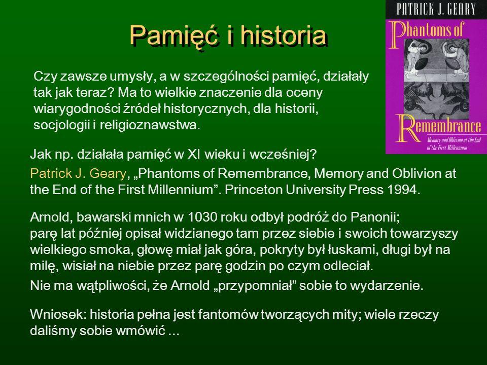 Pamięć i historia Czy zawsze umysły, a w szczególności pamięć, działały tak jak teraz? Ma to wielkie znaczenie dla oceny wiarygodności źródeł historyc