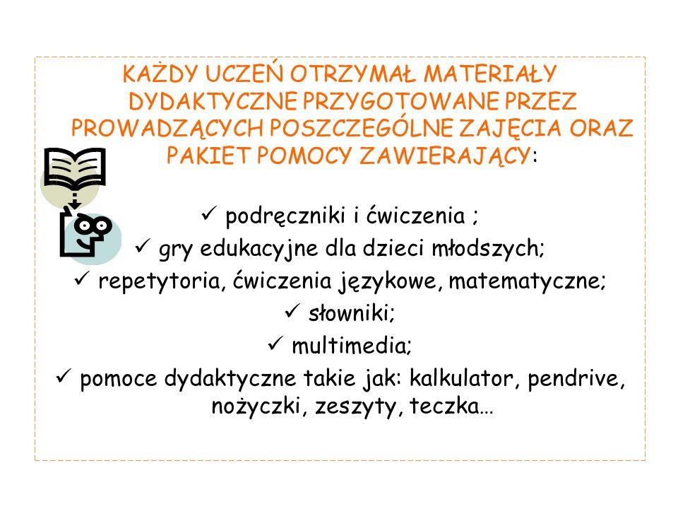 KAŻDY UCZEŃ OTRZYMAŁ MATERIAŁY DYDAKTYCZNE PRZYGOTOWANE PRZEZ PROWADZĄCYCH POSZCZEGÓLNE ZAJĘCIA ORAZ PAKIET POMOCY ZAWIERAJĄCY: podręczniki i ćwiczenia ; gry edukacyjne dla dzieci młodszych; repetytoria, ćwiczenia językowe, matematyczne; słowniki; multimedia; pomoce dydaktyczne takie jak: kalkulator, pendrive, nożyczki, zeszyty, teczka…