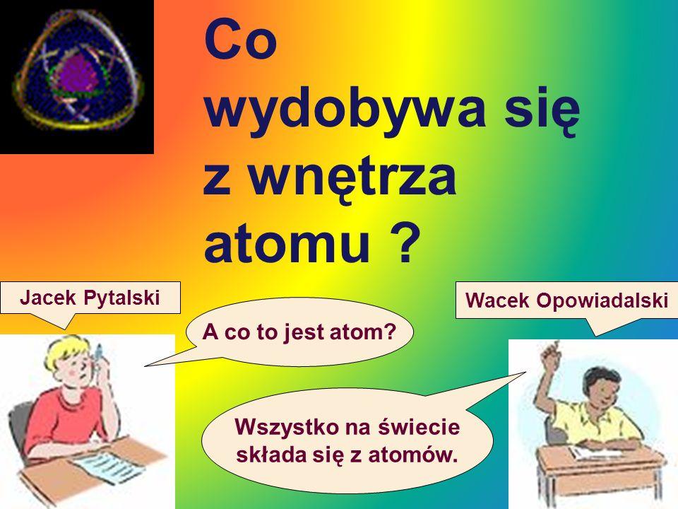 Co wydobywa się z wnętrza atomu ? Jacek Pytalski Wacek Opowiadalski A co to jest atom? Wszystko na świecie składa się z atomów.