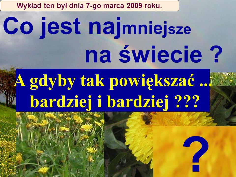 Co jest naj mniej sze na świecie ? ? A gdyby tak powiększać... bardziej i bardziej ??? Wykład ten był dnia 7-go marca 2009 roku.