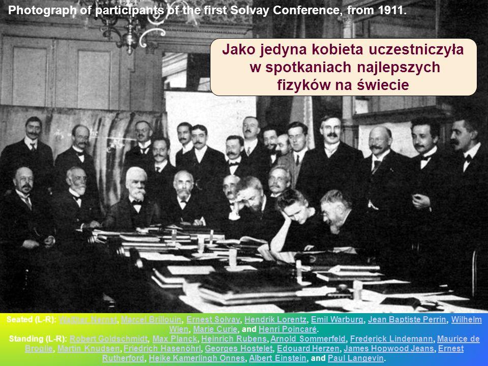 Seated (L-R): Walther Nernst, Marcel Brillouin, Ernest Solvay, Hendrik Lorentz, Emil Warburg, Jean Baptiste Perrin, Wilhelm Wien, Marie Curie, and Hen
