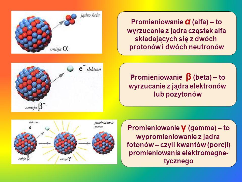 Promieniowanie β (beta) – to wyrzucanie z jądra elektronów lub pozytonów Promieniowanie α (alfa) – to wyrzucanie z jądra cząstek alfa składających się