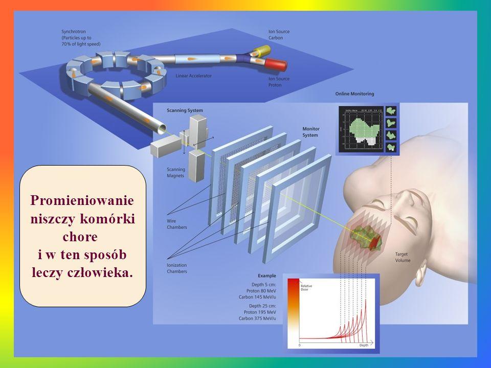 Promieniowanie niszczy komórki chore i w ten sposób leczy człowieka.