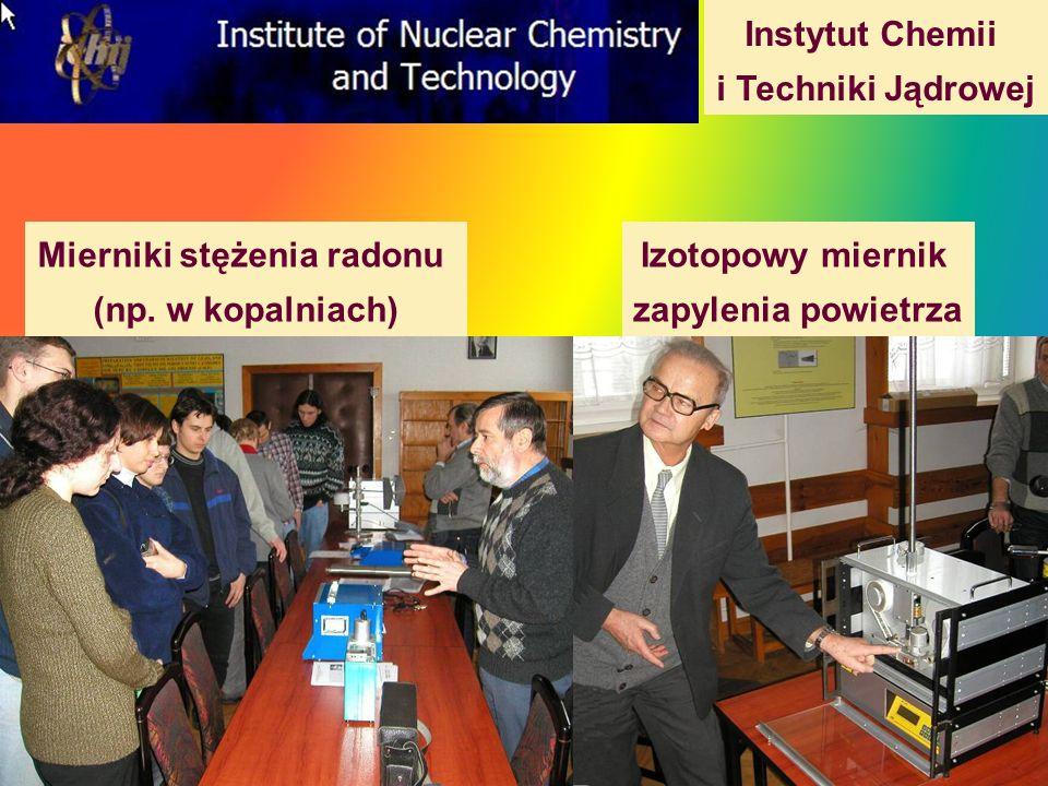 Instytut Chemii i Techniki Jądrowej Mierniki stężenia radonu (np. w kopalniach) Izotopowy miernik zapylenia powietrza