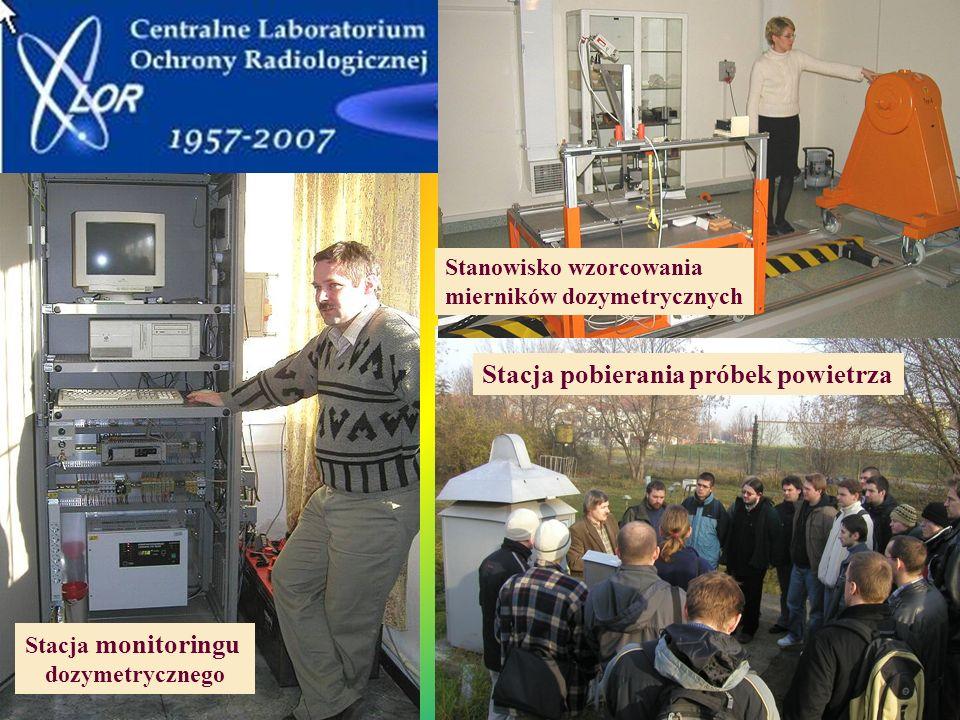 Stacja monitoringu dozymetrycznego Stacja pobierania próbek powietrza Stanowisko wzorcowania mierników dozymetrycznych