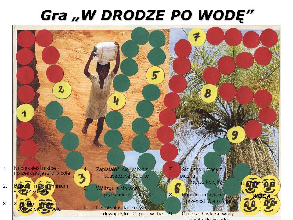 1.Napotkałeś małpę i przeskakujesz o 3 pola 2.Banan - mniam, mniam - stoisz kolejkę 3.Spotkałeś pawiana - cofasz się o 3 pola Gra W DRODZE PO WODĘ 4.
