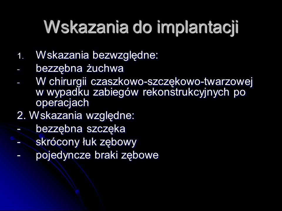 Wskazania do implantacji 1. Wskazania bezwzględne: - bezzębna żuchwa - W chirurgii czaszkowo-szczękowo-twarzowej w wypadku zabiegów rekonstrukcyjnych