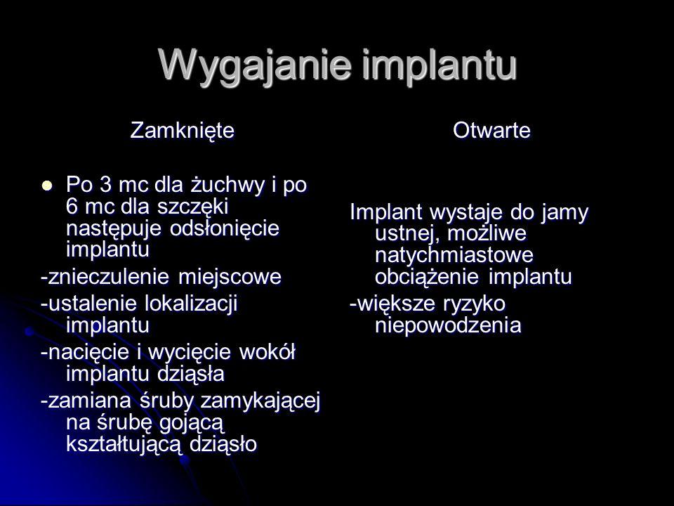 Wygajanie implantu Zamknięte Po 3 mc dla żuchwy i po 6 mc dla szczęki następuje odsłonięcie implantu Po 3 mc dla żuchwy i po 6 mc dla szczęki następuj