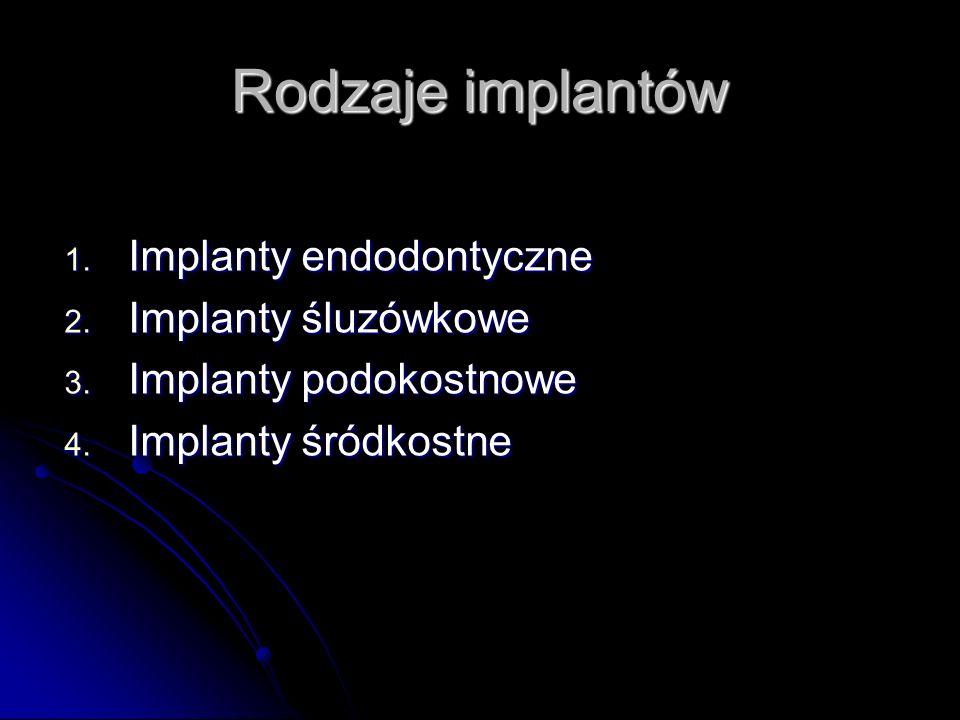 Implanty endodontyczne Ceramiczne lub metalowe sztyfty wprowadzone do kości poprzez ubytek w twardych tkankach zęba, przez odpowiednio spreparowaną komorę i kanał poza otwór przywierzchołkowy.