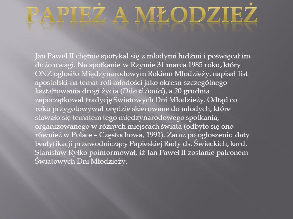 Jan Paweł II chętnie spotykał się z młodymi ludźmi i poświęcał im dużo uwagi. Na spotkanie w Rzymie 31 marca 1985 roku, który ONZ ogłosiło Międzynarod