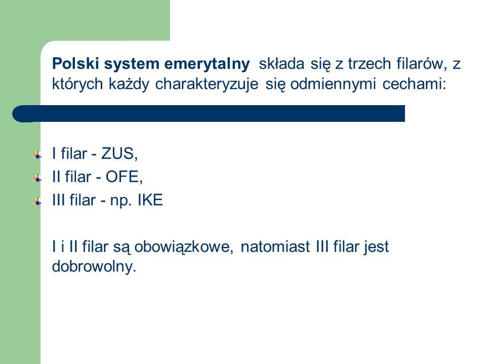 Polski system emerytalny składa się z trzech filarów, z których każdy charakteryzuje się odmiennymi cechami: I filar - ZUS, II filar - OFE, III filar